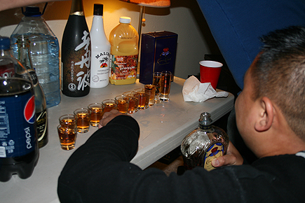 What's a birthday party without a line of cognac shots? 