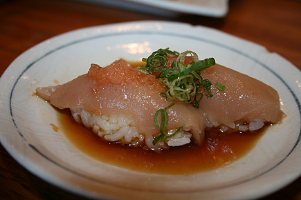 Albacore in ponzu sauce. One of the best fishes for sushi, IMO. 