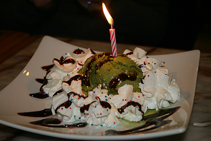 "The restaurant is so silly. They played a very loud version of ""Happy Birthday"" over the intercom, jolting people from their dinners. Needless to say, I made a quick wish, blew out the candle, and dove into the green tea ice cream surrounded by whipped cream."