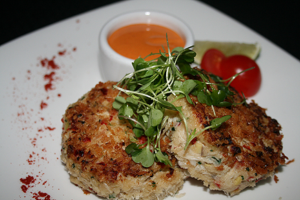 Hong Kong style crab griddle cake with smoked chili aioli.