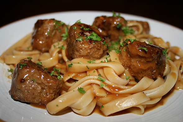 And there you have it - Swedish meatballs with brown gravy sauce over fettucine. Definitely not processed meatballs from Ikea!