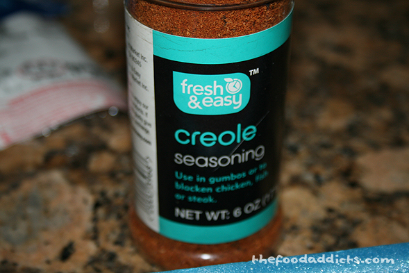 I wanted to use a different seasoning for the salmon, so I grabbed creole seasoning in the cupboard - purchased from Fresh & Easy. Creole seasoning offers Southern-style taste, and we wanted our salmon to have that cajun vibe.