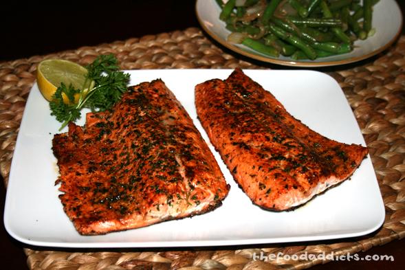 Add some lemon on the steelhead salmon and enjoy!