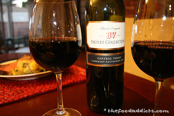 We thought it was fitting to have red wine with this dish, so we popped out a Cabernet Sauvignon from our wine rack. We liked that it's smooth and easy on the palate and it paired well with the steak.