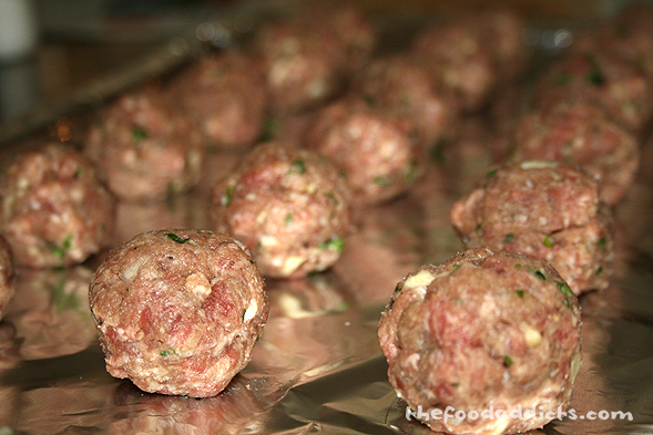 At last, the meatballs were prepared by using ground beef, bread crumbs, 2 eggs, garlic, parsley, salt & pepper.