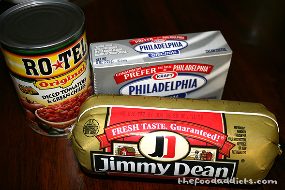 Essentially, there are only 4 ingredients in this entire dip: an 8oz package of cream cheese, spicy sausage, a can of diced tomatoes and green chilies, and jalapenos (shown below).