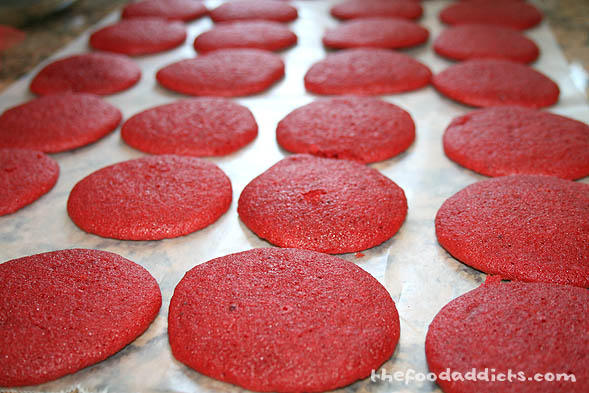 When the red tops are done, let them cool completely. This recipe will yield 30 red cake tops, and 30 blue cake tops.