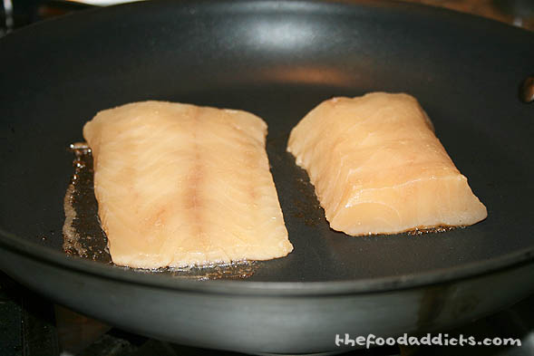 When it's ready to be cooked, sear both sides of the cod on a skillet, until it gets a little blackened.