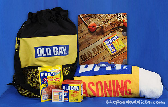 Gift package includes: Old Bay Seasoning, Old Bay Seafood Steamer bag, a beach towel, beach bag, keychain with bottle opener, temporary Old Bay tattoo, and some great new Old Bay-inspired recipes!