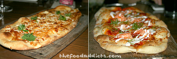 The appetizers didn't stop! We also shared the Margarita Flatbread (spicy tomato sauce, queso fresco, and cilantro). Next to that was the Shrimp and Chorizo Flatbread.
