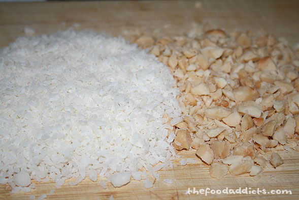 Gather 1 cup of coconut flakes and about 4 oz. of the macadamia nuts (coursely chopped).
