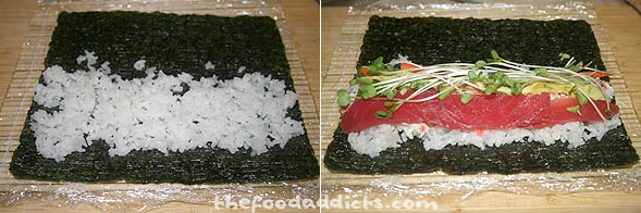 The first thing we showed our friends was how to make the thick sushi rolls, also known as Futo-Maki-Zushi. To start, place one sheet of nori on the bamboo sushi mat. Spread some rice over the nori sheet (you can spread it entirely over the nori, or half if you want less rice). Then lay the ingredients across the center.