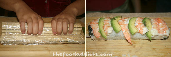 It's important to squeeze firmly to tighten the roll so it doesn't fall apart. At this point, you can either sprinkle sesame seeds on top, or coat roe evenly over the rice. Cecille decided to layer the roll with shrimp and avocado (nice choice!).