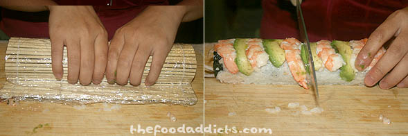 To get the shrimp and avocado to stick to the rice, place the bamboo mat over it and squeeze firmly again. Now it's ready to be cut up! Again, start in the middle and gently cut into 8 pieces.