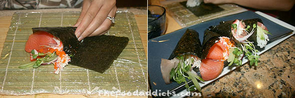 Fold the nearest corner over the filling and bring it up to meet the top edge of the nori. Continue to roll around until it forms a cone, making sure there's not a big hole in the bottom. Think cone-shaped, not burrito-shaped.