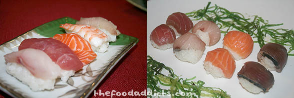 Forming Nigiri-Zushi is super easy - just wet your hands and take about 1 1/2 tbsp of rice and gently squeeze into a slightly oval shape. Use the tip of your index finger to place a dab of wasabi in the center of the rice and then place the pre-sliced sushi on top. Firm gently on top and you will have your nigiri-zushi. We thought it would be fun to also form the nigiri into the shape of a ball, shown in picture 2. Just use a plastic wrap to mold the rice and fish into a round shape.