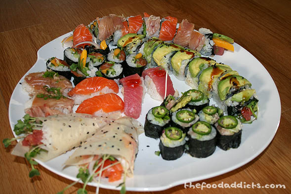 The opportunities are endless when it comes to making sushi at home. With the right ingredients, you can make an array of beautiful sushi cut rolls and hand rolls in the comfort of your own kitchen, without the huge restaurant bill. Play around with soy wraps, jalapenos, eel sauce, mango, fried onions and garlic, bonito flakes, roe, etc etc. You get the idea!