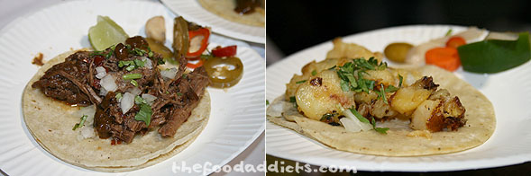 "At the Friday night Street Food ""Fare"", we feasted on tacos from Tacolicious - braised shortribs and chorizo potato."