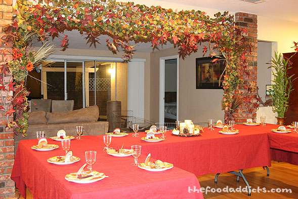 As you can see, we decked the dining room with as much fall leaves as we possibly could. It was like we were all dining outdoors.