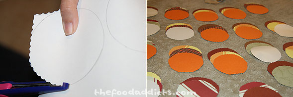 We thought it would be cute to have turkey place settings for all our guests. We were inspired by procrastistamper's version, so we made our own with what we had. We cut out circles using leftover scrapbook paper and scallop-shaped scissors.