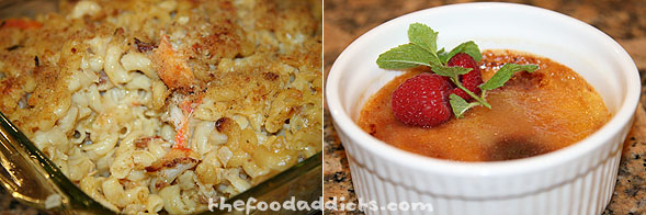 Aaron made a hearty Crab Mac-n-Cheese as his side dish, and even had time to make an awesome creme brulee for dessert.