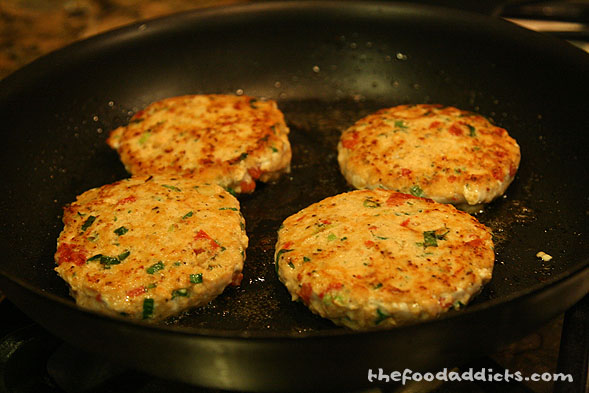 We formed 1/2-inch thick patties and cooked it in a frying pan (you can also grill outside if you want to put the effort). Cook about 4 minutes on each side (depending on the thickness).