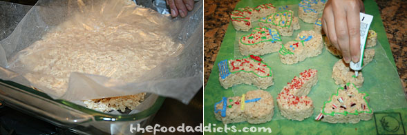 Transfer the mixture to a baking pan lined with wax paper and take another sheet of wax paper to press and form the mixture. Let it cool and then you can start using the cookie cutters to cut them into their desired holiday shapes. Decorate with frosting to give it life!
