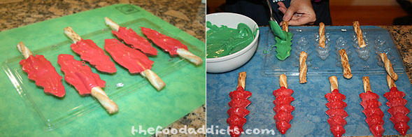 Another fun idea that doesn't involve baking is to take pretzel sticks and add chocolate melt to it to form holiday treats. I bought a plastic mold at Michaels in the shape of Christmas trees. I melted the different colored chocolate and drizzled it in the mold with the pretzel. Once it cools, it easily pops out and is ready for icing and other decorations.