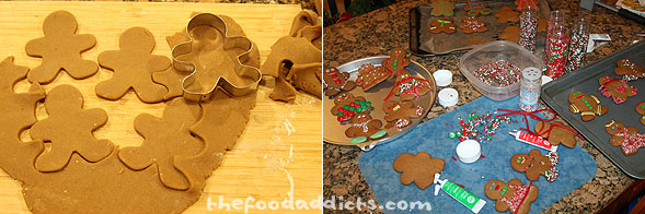 When it's ready, take the dough and roll it out on a floured board and cut out with gingerbread boy and girl cookie cutters. This goes into a 350-degree oven for about 10 minutes. When they've cooled completely, you can start the decorating process - which in our case was a complete mess, but it was loads of fun. We tried to think of creative ideas, but we weren't very successful. Let's just say that decorating cookies is not one of our fortes, but we sure had fun doing it.