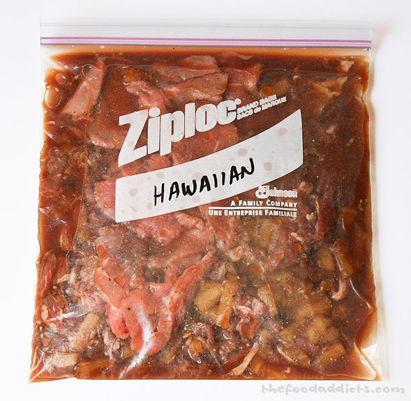 This Hawaiian Jerky recipe is courtesy of Meal-Master. Ingredients include: 1/4 cup pineapple juice, 1/4 cup light soy sauce, 1/8 tsp Cayenne pepper, 1 crushed garlic clove, 1 tbsp brown sugar, 1 tsp ground ginger, 1/4 tsp pepper, and 1 tsp salt. We also added some pineapple chunks, too. Results? Not bad! The fruity pineapple flavor mellows out the saltiness.