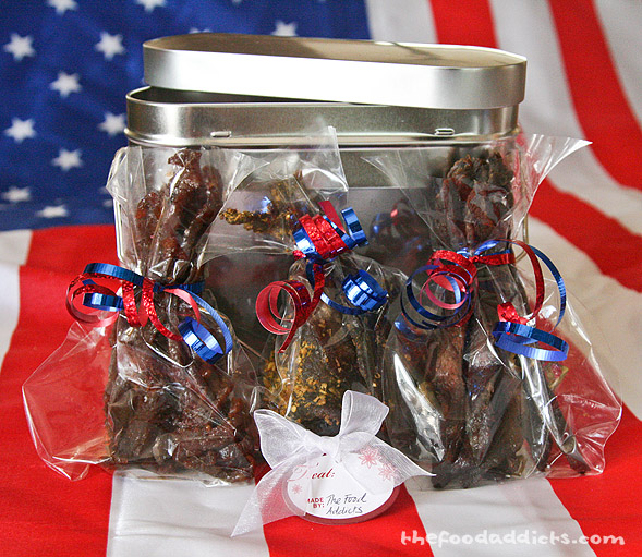We packaged up several different bags of jerky and tied it in red and blue ribbons. How patriotic, huh? I think our soldiers will really enjoy this care package from yours truly at The Food Addicts!