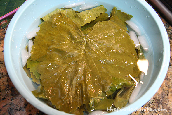 We removed the blanched grape leaves and placed it in an ice bath to stop the cooking process.&amp;nbsp;