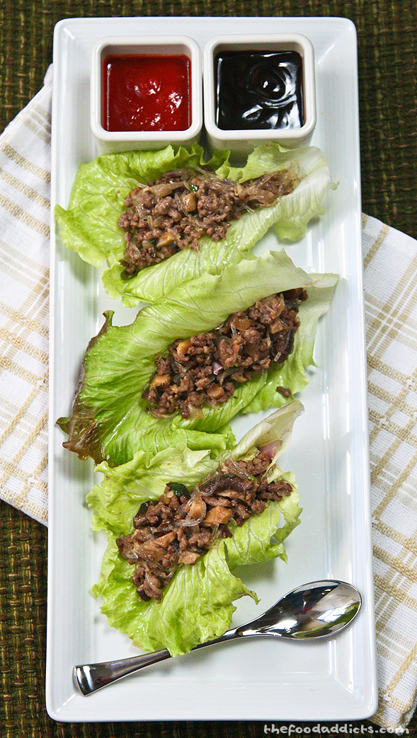 Spoon the mixture into a lettuce leaf and dip with some Hoison sauce and Sriracha. I like how the Sierra lettuce has a nice pocket that's perfect to stuff. You can also use Boston Bibb or Butter Lettuce.
