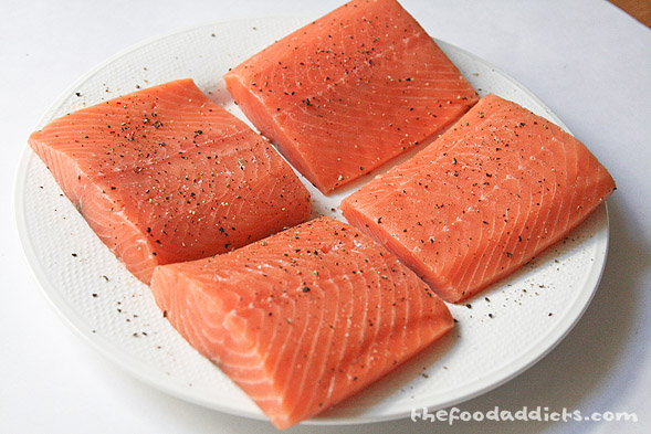 These are (4) 8-oz pieces of salmon, or simply 2 lbs of salmon. This feeds 4 or in our case, 2 meals! Season both sides with salt and pepper and pan sear over high heat for 2-3 minutes on each side.