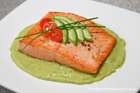 To plate, swirl some avocado puree on the bottom and place the seared salmon on top. If you want to make it look fancy, add the avocado fan, some cherry tomatoes, and chives. Of course, if you're not trying to impress anyone, just dig in and enjoy the salmon with the avocado sauce. It's healthy and full of good nutrients for you! Ahh, yes, it's nice to be home :)