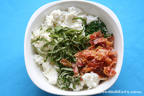 To make the ricotta mixture, we combined 12 oz. ricotta cheese, 7 slices of Pancetta that has been cooked to a crisp, 7 basil leaves chiffonade, 5 pineapple sage leaves, 1/2 tbsp chopped chives, 1/4 tsp pepper and 1/4 tsp salt.