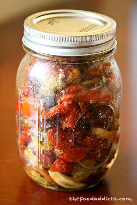 Oven dried tomatoes in a jar. 