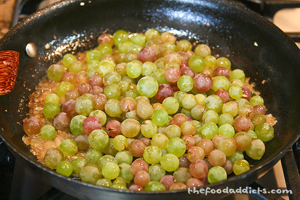 Next, we added in 1 lb. of white seedless grapes. Make sure they are sweet and not sour, or else your sauce will taste sour.